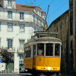 Traditional yellow lisbon tram — Stock Photo