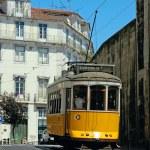 Traditional yellow lisbon tram — Stock Photo