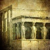 Vintage image of Caryatids, Acropolis, Athens, Greece — Stock Photo