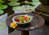 Traditional balinese offerings — Stock Photo