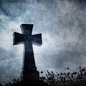 Grunge image of a cross in the cemetery, perfect halloween backg — Stock Photo