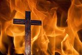 Cross on fire — Stock Photo