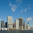 Panorama of manhattan with flying helicopter, new york, usa — Stock Photo