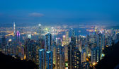 Hong Kong at night, view from Victoria Peak — Stock Photo