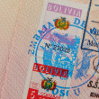 Passport with bolivian visa and stamps — Stock Photo