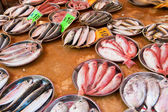 Fresh fish at a fish market — Photo