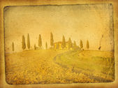 Vintage postcard with classical tuscan view — Stock Photo