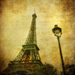 Stock Photo: Vintage image of Eiffel tower, Paris, France
