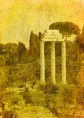 Sztuka obrazu rzymskich ruin, Rzym, Włochy — Zdjęcie stockowe