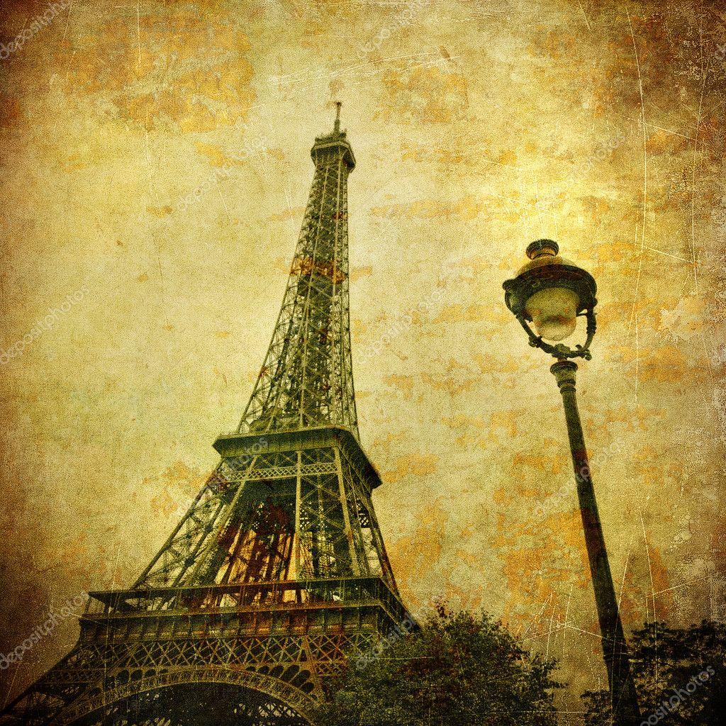 埃菲尔铁塔, 巴黎, 法国的复古形象