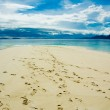 Footprints in the tropical beach — Stock Photo #9534495