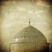 Vintage image of Mosque in an ancient city of Yazd, Iran — Stock Photo