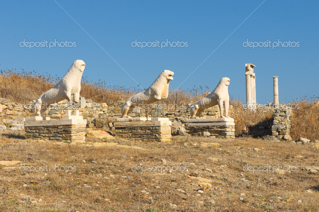 The Terrace of the Lions, Delos island, Greece — Stock Photo #9605003
