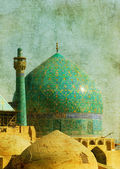 Vintage image of imam mosque, isfahan, iran — Stock Photo