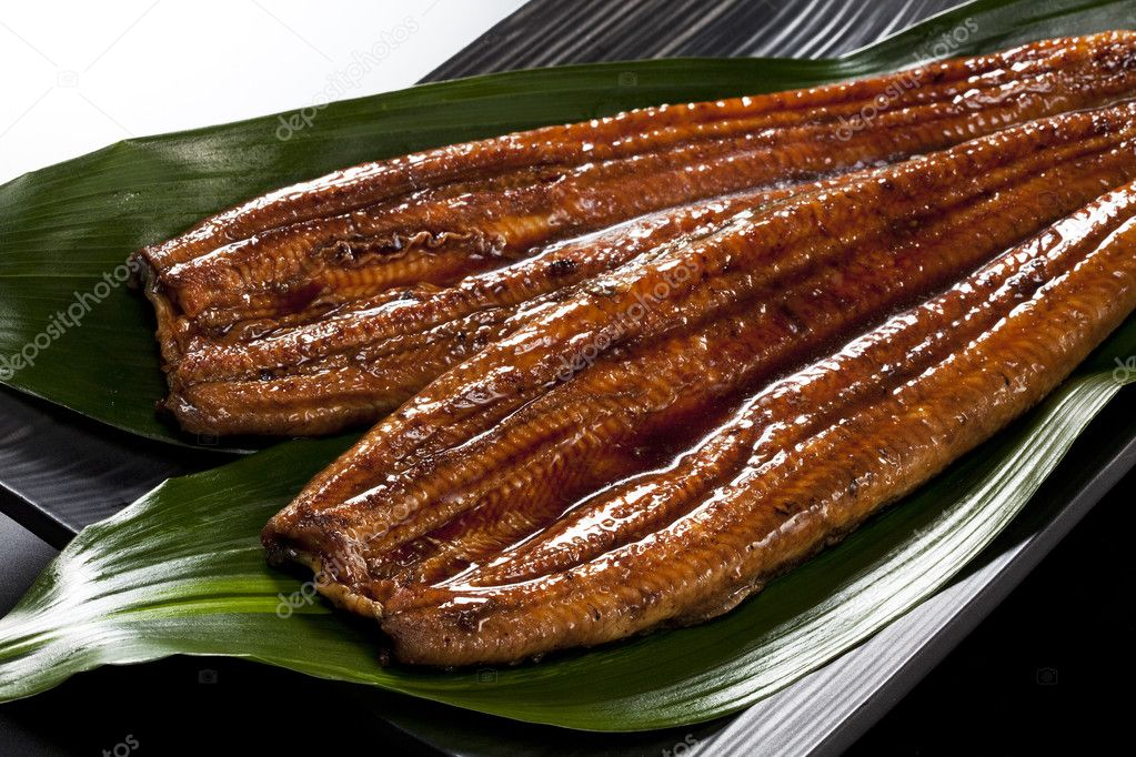 Japanese food roast eel ( unagi ) on bamboo grass  Stock Photo #9327425