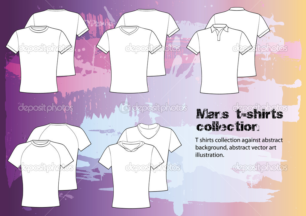 T shirts collection against abstract background, abstract vector art illustration. Editable image, separated from the background  Stock Vector #10147330