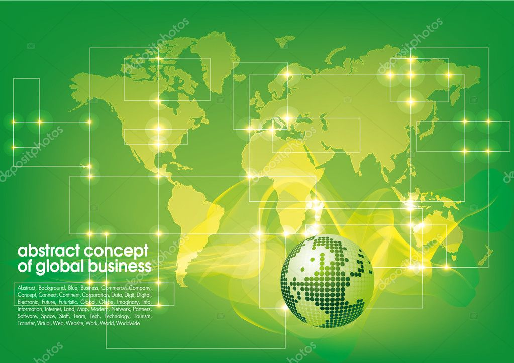 Best abstract green-yelow business background with place for text.  Concept of global business — Stock Vector #10234401
