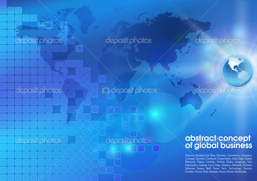 Best abstract blue business background with place for text.  Concept of global business — Stock Vector #10246647