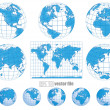 Collection of vector globes with world map — ストックベクタ