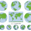 Collection of vector globes with world map — Stock Vector