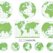 Collection of vector globes with world map — Stock Vector #10402055