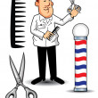 Stock Vector: Barber Shop Items