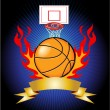 Stock Vector: Basketball Flames Banner