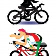 Stock Vector: Bicycle with Cartoon Characters