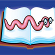 Stock Vector: Book Worm Cartoon