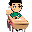 Boy At Desk Cartoon Character — Stock Vector