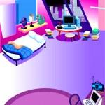 Boys Room Interior Cartoon — Stock Vector