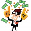 Stock Vector: Businessman with Number One Finger and Money
