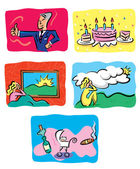 Birthday and Greeting Cards — Stock Vector