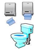 厕所和纸毛巾机 — 图库矢量图片
