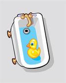 Gummi anka i badkar — Stockvektor