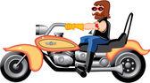 Motorcycle Man Cartoon — Stock Vector