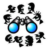 Binoculars with Cartoon — Stock Vector