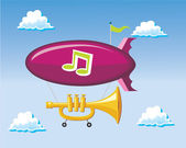 Blimp and Trumpet — Stock Vector