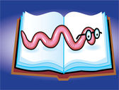 Book Worm Cartoon — Stock Vector