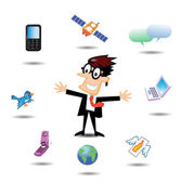 Businessman with Communication Icons — Stock Vector