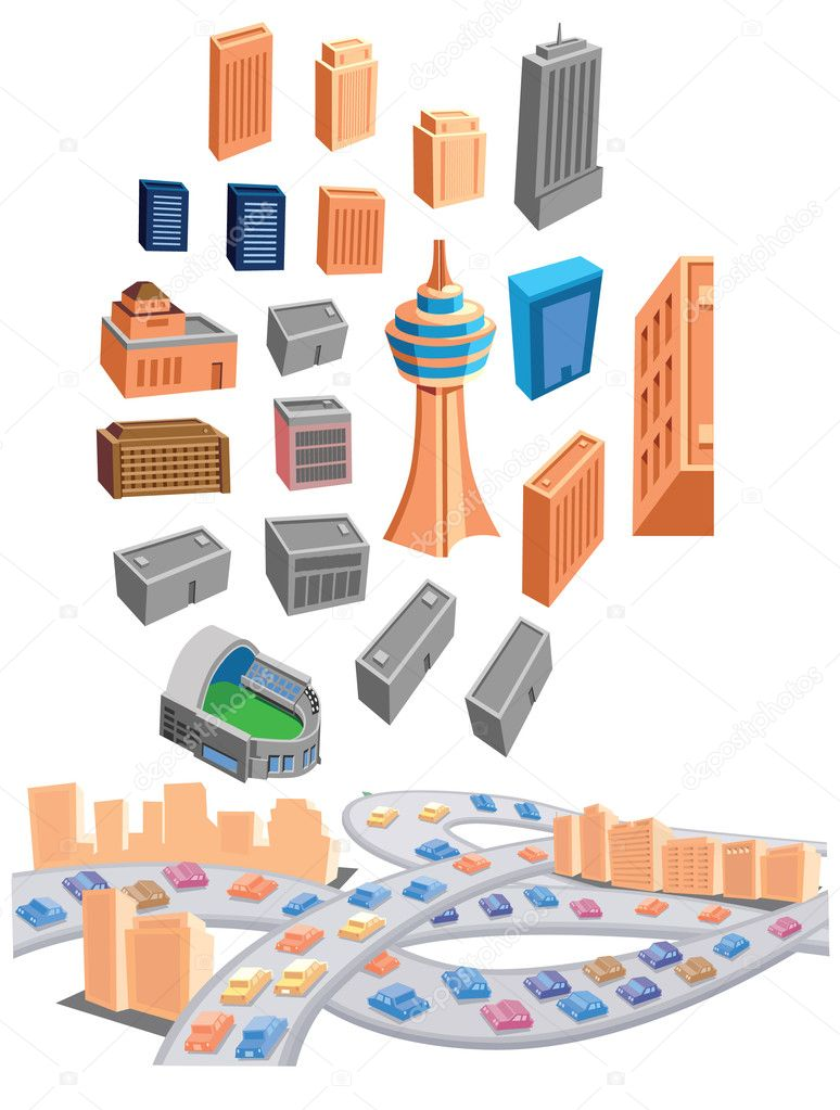 Building and Traffic Icons — Stock Vector #10460584
