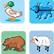 Animal Cartoon Icons — Stock Vector