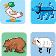 Animal Cartoon Icons — Stock Vector #9470113