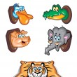 Stock Vector: Animal Cartoon Icons