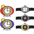 Stock Vector: Wrist Watch and Clocks