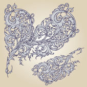 Vector set: calligraphic flower design — 图库矢量图片