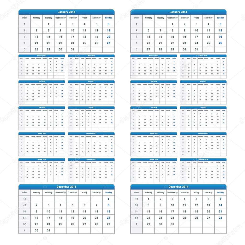 Carefully designed calendar for 2013 and 2014 isolated on feathered
