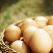Easter eggs in brown natural basket - Stock Photo