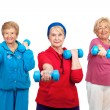 Stock Photo: Three senior women doing workout.