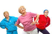 Threesome senior women getting fit. — Stock Photo